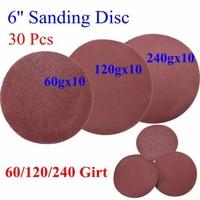30Pcs 6 Inch Self Adhesive Sander Paper 60 120 240 Grit Sanding Disc Stick On Sandpaper