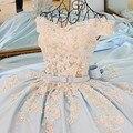 Vestido De Festa 2017 Luz Azul Vestido De Noite Longo Tribunal trem Robe De Soirée Vestidos de Festa Vestido Longo Parágrafo Casamento