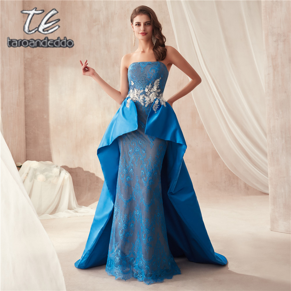 vestido de noiva sereia White 3D Flowers Applique Blue Prom Dress Diamond Beaing Elegant Evening Dress