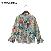 SHOWERSMILE Loose Flower Printed Chiffon Women Shirts Blouses Lace Up Floral Tops Autumn Designer Clothes Petal