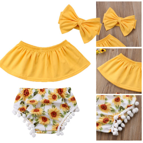 Infant Newborn Baby Girls Summer 3Pcs Outfit Off Shoulder Tassel Tops Sunflower Shorts Headband Clothes Set
