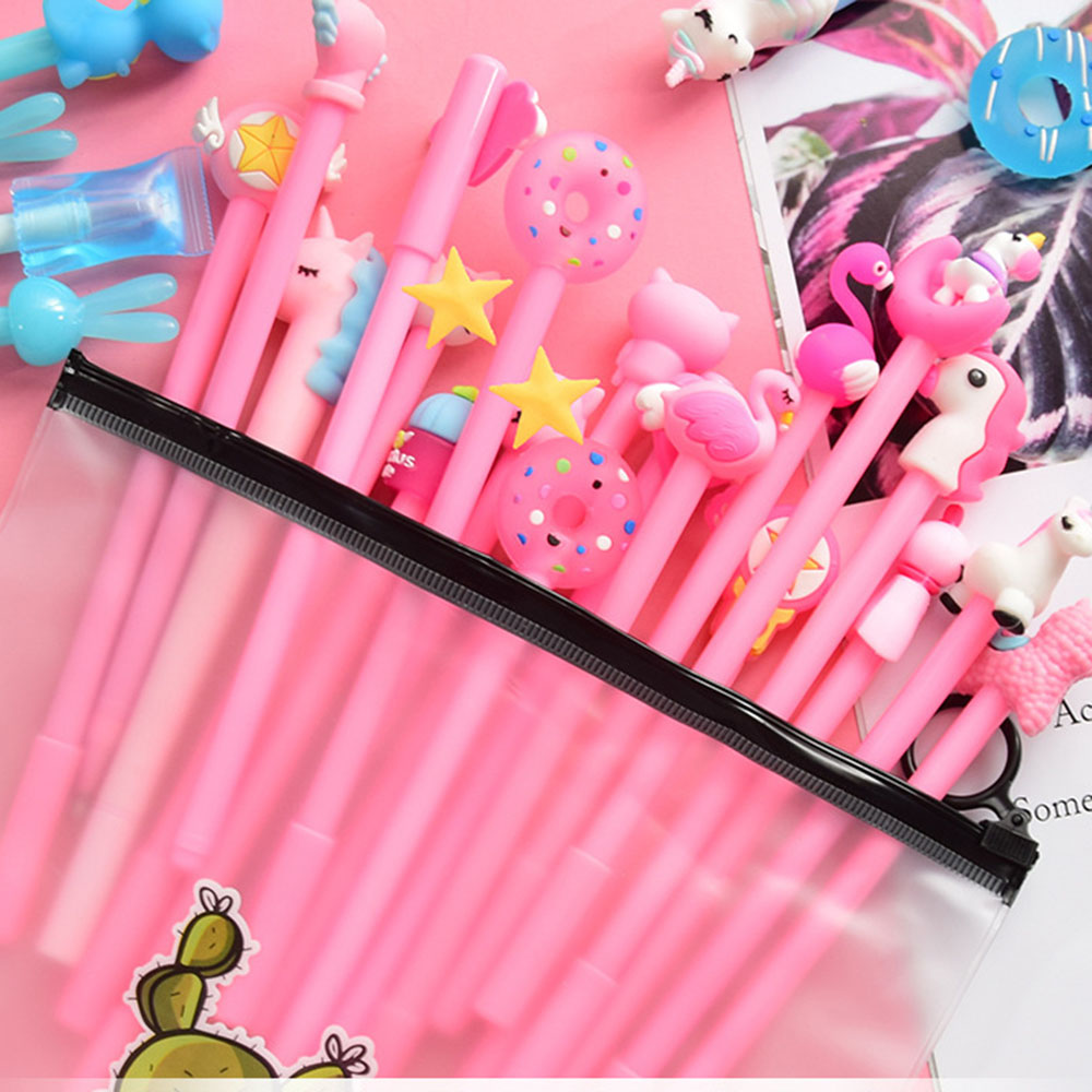 20Pcs Cute Kawaii Cartoon Animal Unicorn Gel Pen Suit Student Creative Gift Stationery School Office Writing Pens Supplies