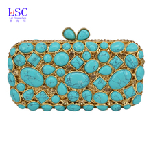 LaiSC Cobblestone Clutch Bag Women Diamond Evening Bag with Crystal Pochette Purse light green Bling Wedding Party Handbag sc459