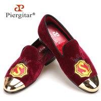 Новый Piergitar ручной работы женские бархатные туфли с золотым металлическим носком и аппликацией винно красный цвет Пром и банкет Лоферы для