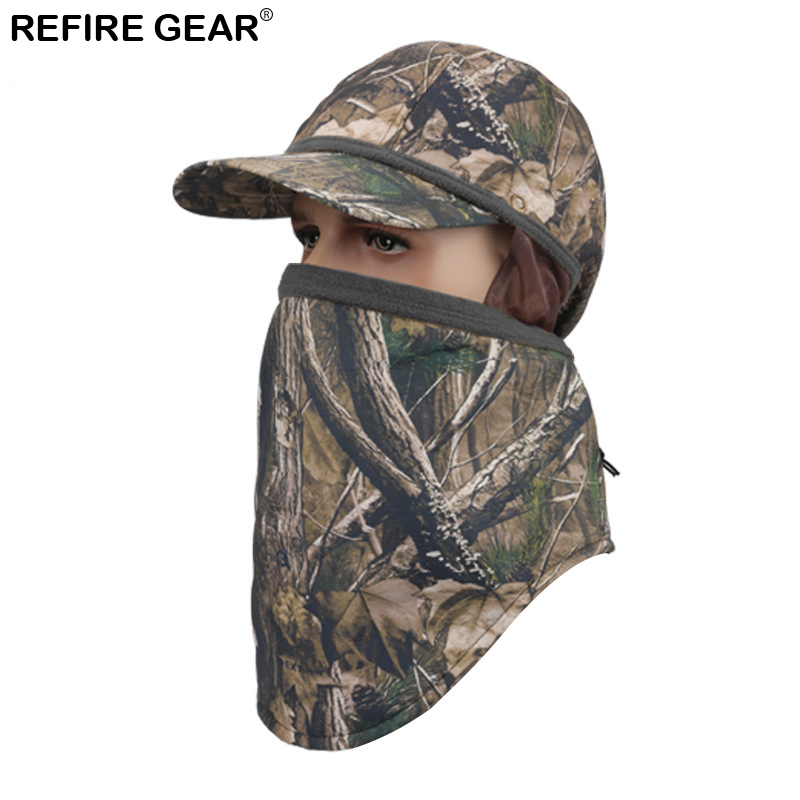 Refire Gear Winter Fleece Outdoor Hat Head Hooded Camo Beanie Mask Balaclava Knit Tactical Cap Male Hiking Cap Earmuffs Caps