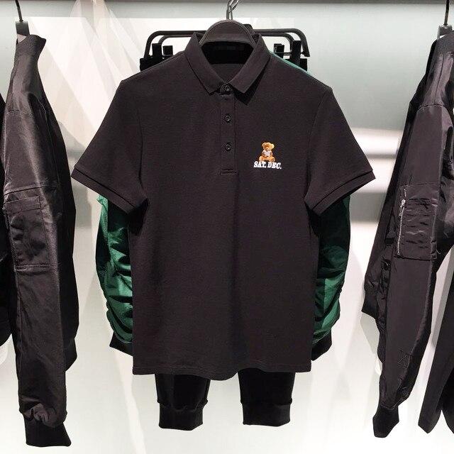 High New Luxury 2019 Men Collar Embroidered Bear Fashion Polo Shirts Shirt Hip Hop Skateboard Cotton Polos Top Tee #K04