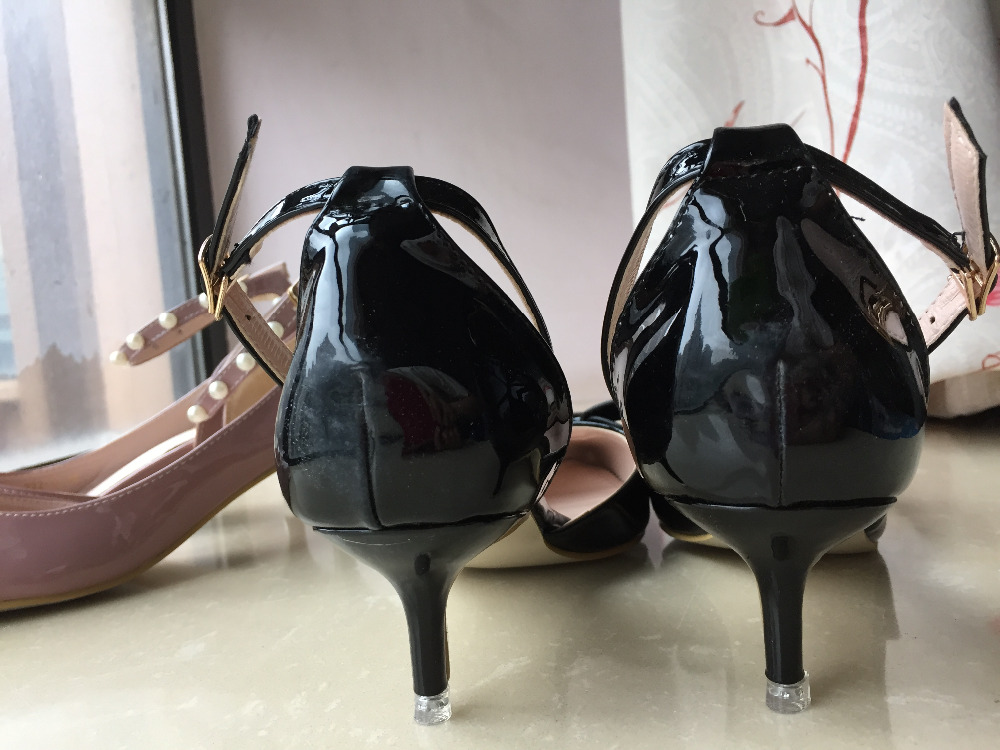 b019d9d8ac6 Glossy black patent leather handmade bow detailed pointy toe Low heel  kitten heels women shoes(White Black)-in Women s Pumps from Shoes on  Aliexpress.com ...