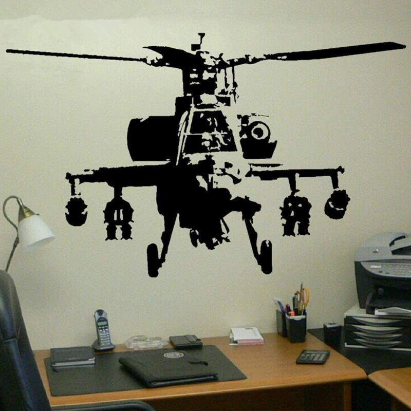 New 2016 XTRA LARGE BANKSY HELICOPTER WALL ART BEDROOM MURAL GIANT STICKER TRANSFER DECAL Vinyl Wall Stickers