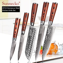 SUNNECKO 73 Layers Damascus Steel Chef Knife Japanese Kitchen Knives Pakka Wood Handle Utility Santoku Slicing Paring Cut