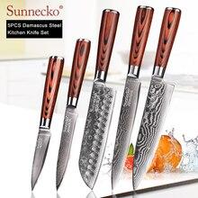 Sunnecko 73 camadas de aço damasco faca do chef japonês facas cozinha pakka madeira lidar com utilitário santoku corte aparas facas corte