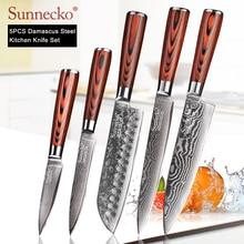 Sunnecko 73 層ダマスカス鋼シェフナイフ日本のキッチンナイフ pakka 木製ハンドルユーティリティ三徳スライス果物カットナイフ