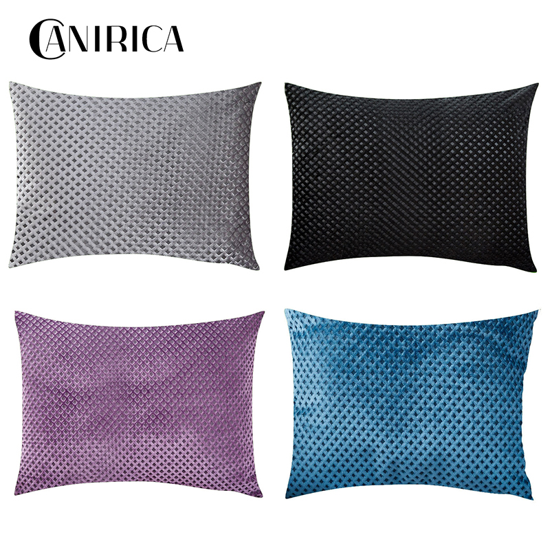 CANIRICA Decorative Pillows Gray Throw Pillows 45x45cm Velvet Cushion Cover Home Decor Funda Cojin Sofa Living Room Decoration in Cushion Cover from Home Garden