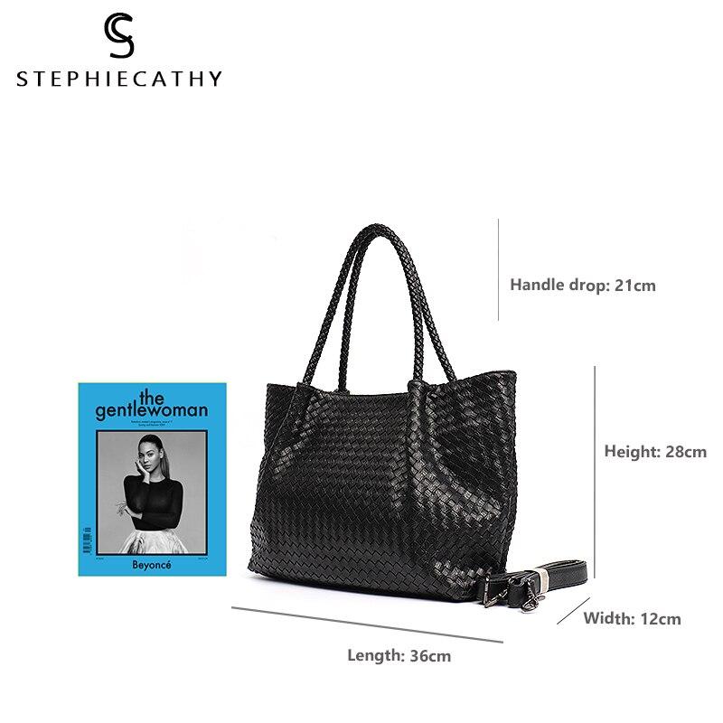 SC Women PU Leather Casual Handbags Handmade Woven Tote Bag Female Vintage Shoulder Bag Retro Large Capacity Messenger Bags