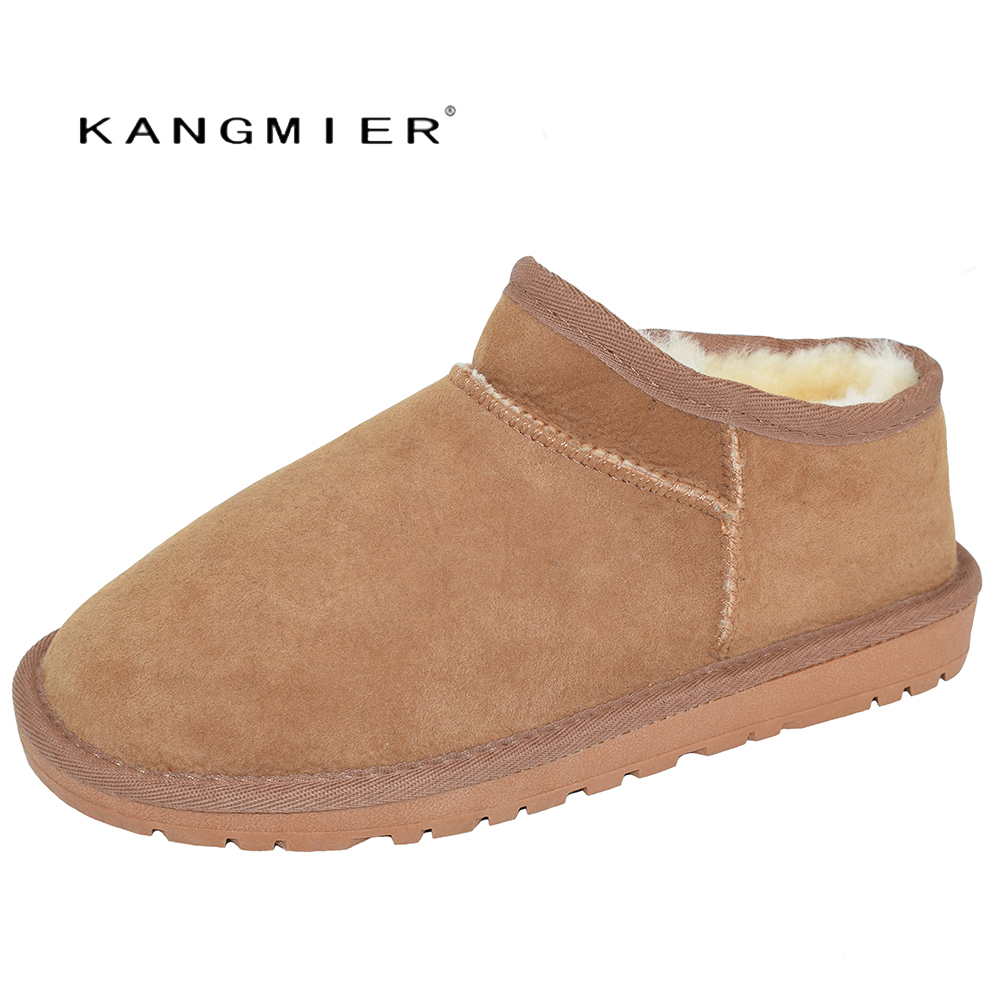 цена на KANGMIER Fur Shoes Woman Boat Moccasin Slip-On Plush Lined Fur Flat Warm Shoes for Winter
