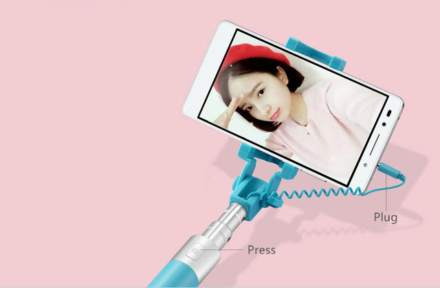 Original Huawei Honor Selfie Stick Monopod Wired Selfi Self Stick Extendable Handheld Shutter for iPhone Android Huawei