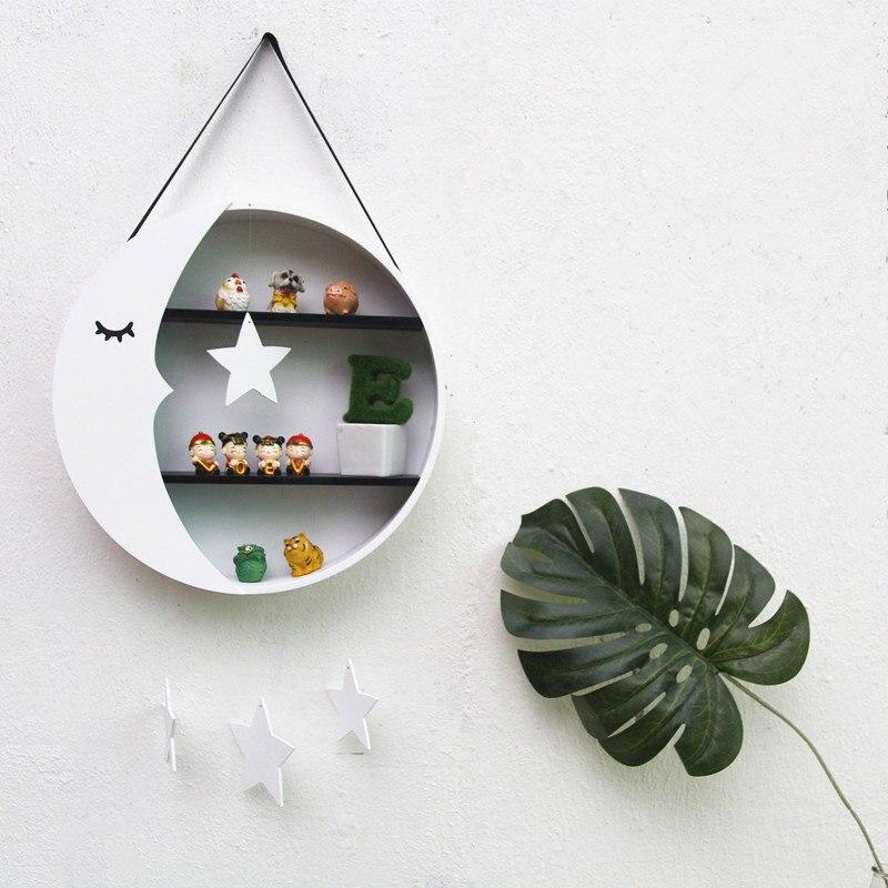 Décoration de chambre d'enfants boîte de rangement tenture murale en bois lune supports de rangement jouets Figurines affichage étagères décoratives cadeau de noël