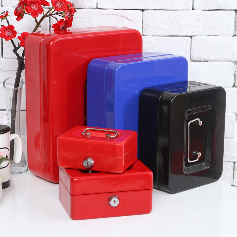 Mini Portable Safe Box Money Jewelry Storage Collection Box For Home School Office With Compartment Tray Lockable Security Box S giantree portable money box 6 compartments coin steel petty cash security locking safe box password strong metal for home school