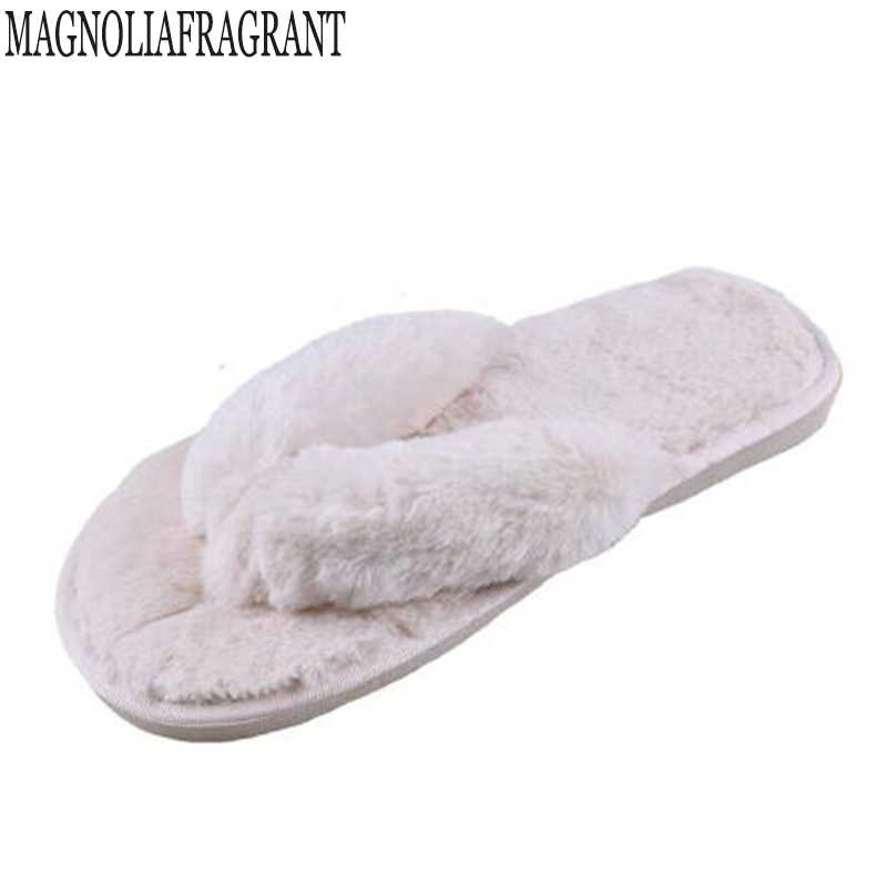 Winter Fashion Women Home Slippers Faux Fur Warm Shoes Woman Slip on Flats Female Fur Flip Flops  Plus Size 36-41flip flops z113