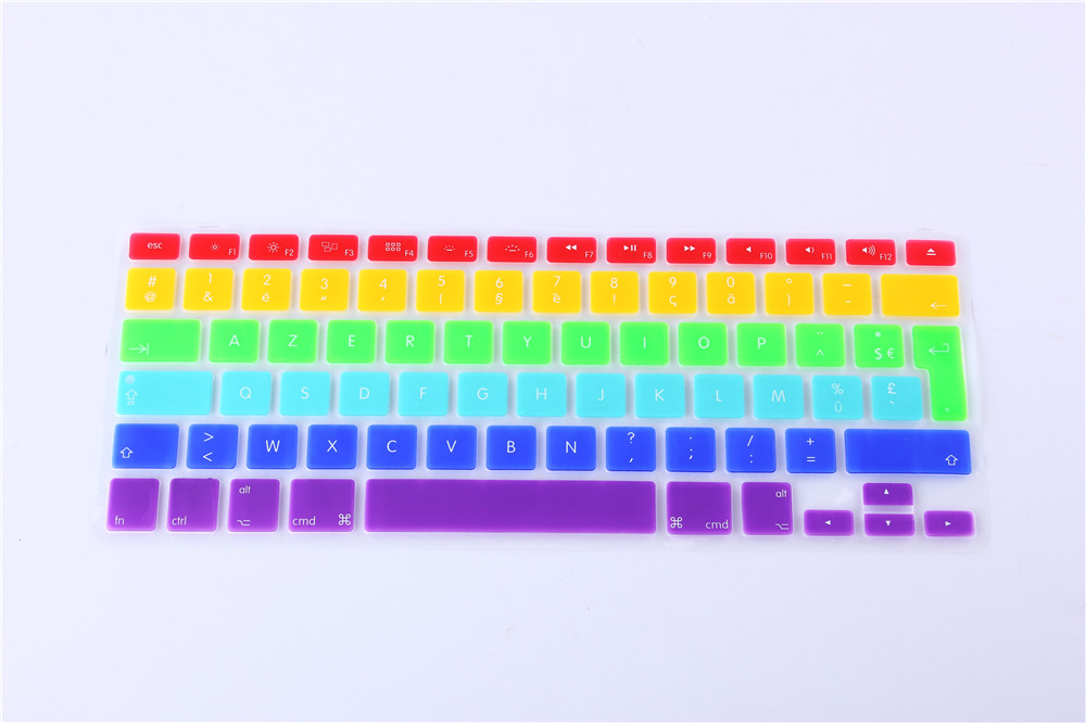 "Rainbow Clavier Fr French AZERTY Keyboard Cover Skin Film For Macbook Pro 13"" 15"" 17"" A1278 A1286 A1297 for Macbook Air 13"