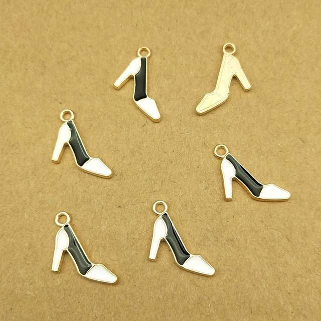 20 pièces 7x20mm émail chaussures à talons hauts breloque pour la fabrication de bijoux et lartisanat mode boucle doreille bijoux à breloques résultats