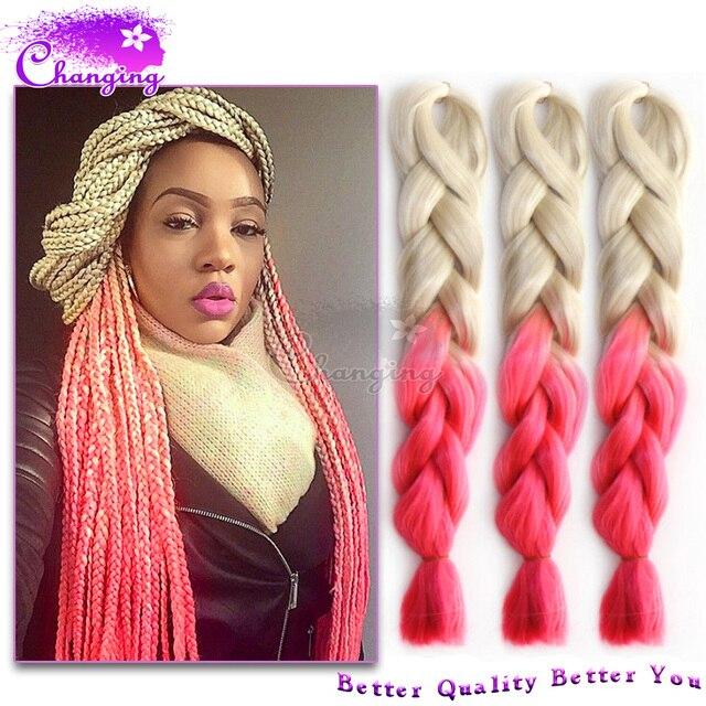 Whitepink Kanekalon Braiding Hair 10pc Cheap 613pink Crochet Hair