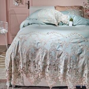 Image 2 - Dantel mısır pamuk kraliçe çift kişilik yatak seti mavi pembe altın yatak takımı lastikli çarşaf nevresim ropa de cama parrure de yaktı