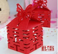 100pcs Lot Free Shipping Wedding Favor Folding Candy Box Packaging Gift Boxes Butterfly Red Gold Display
