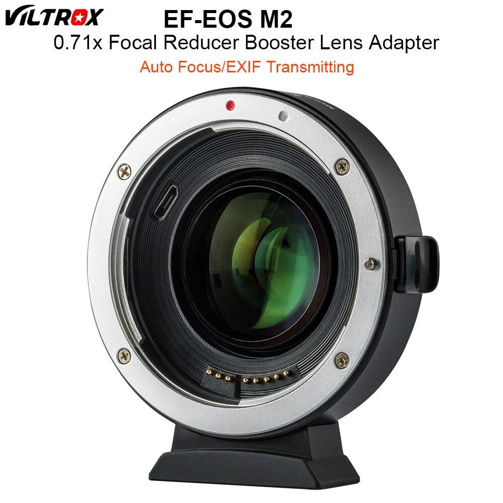 VILTROX EF-EOS M2 Auto Focus 0.71x réducteur de vitesse Booster adaptateur de montage d'objectif pour objectif Canon EF vers appareil photo EOS M5 M6 M10 M50 M10