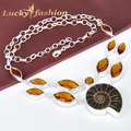 Fashion End-High Quality Nacklace For Women Cute Genuine Ammonite Brazil Citrine Vintage Necklace