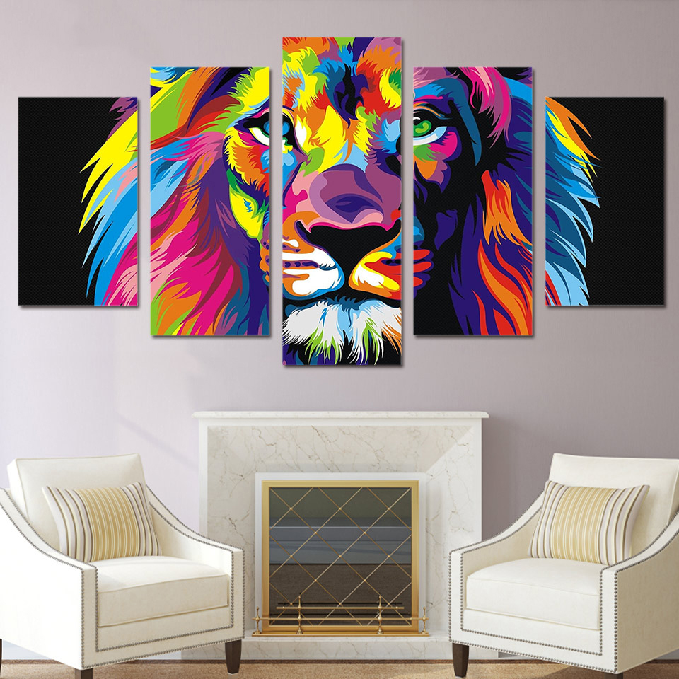 canvas posters home decor wall art framework 5 pieces colorful lion paintings for living room hd. Black Bedroom Furniture Sets. Home Design Ideas