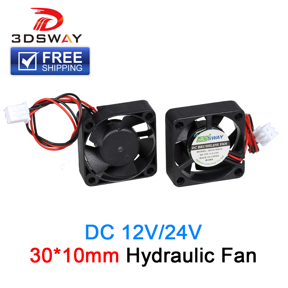 3DSWAY 3D Printer Parts Fan 30*30*10mm DC 12V 24V Cooling Fan Hydraulic Fan With XH2.54-2P Dupont Wires 150mm For Reprap Delta