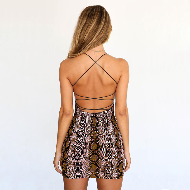 HTB1DmQDXHr1gK0jSZFDq6z9yVXaS Sexy Cross Bandage Backless Summer Dresses Women Snake Print Sling Dress Casual Strap Sleeveless Animal Print Tight Party Dress