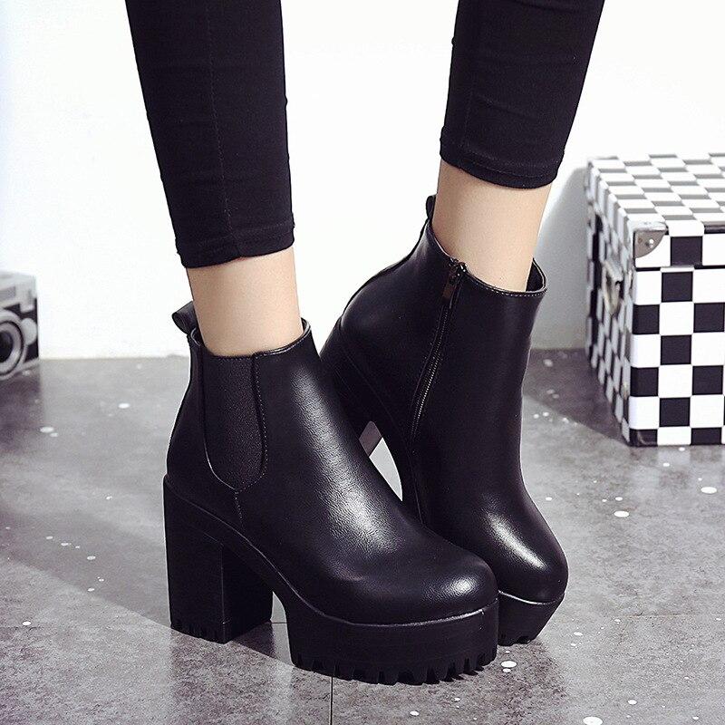 € 11.72 10% de DESCUENTO Nuevo 2018 Botas Mujer moda Botas Tacón cuadrado plataformas Zapatos De Mujer cuero PU muslo alta bomba motocicleta Botas en