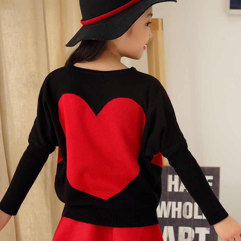 Gadis Batwing Anak Merajut Sweater Anak Pakaian perempuan Anak-anak Memakai Baru Merah Hitam Wol Mendengar Pencetakan