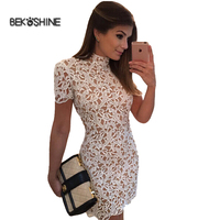Bekoshine 2017 Newest Vestidos Fashion Hollow Out Sexy Autumn White Lace Party Dresses High Quality Women
