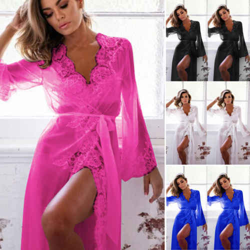 e28cf6c2d9a ... New Women Sexy Sissy Lingerie Lace Robe Babydoll Tulle Dresses Flare  Sleeve G-string ...