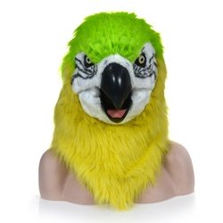 HuiTai Fashion Function Mouth Moving Furry Mask Green Parrot Animal Head Mask simulation animal pattor mover mouth mask