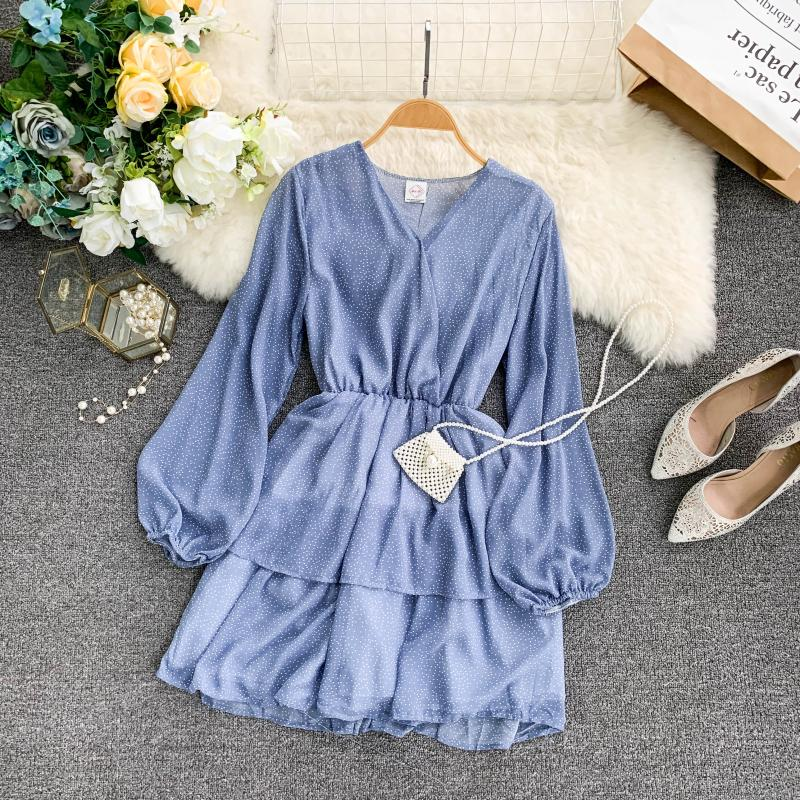 Korean Summer 2019 Sweet Women Dress Elegant V Neck Puff Sleeve Dot Print Dress Cascading Ruffle A Line Female Dress Vestido 45