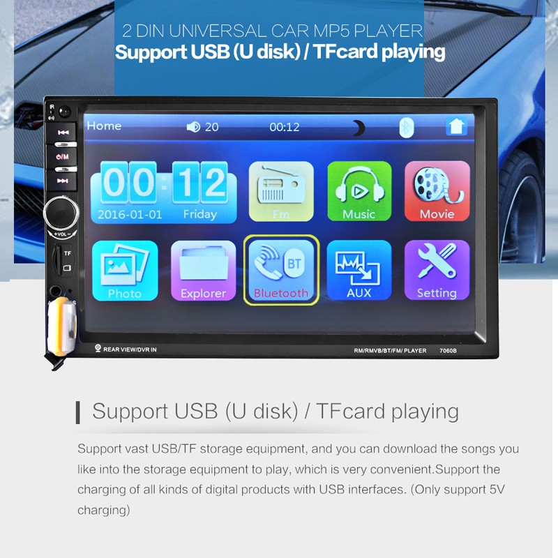 7060B 7 Inch 12V Auto 2-Din Bluetooth TFT Screen Car Audio Stereo MP3/MP4 /MP5 Player Support AUX FM USB SD MMC cimiva 6 2 inch tft audio dvd sb sd bluetooth 2 din car cd player with automatic memory play car dvd player 12v