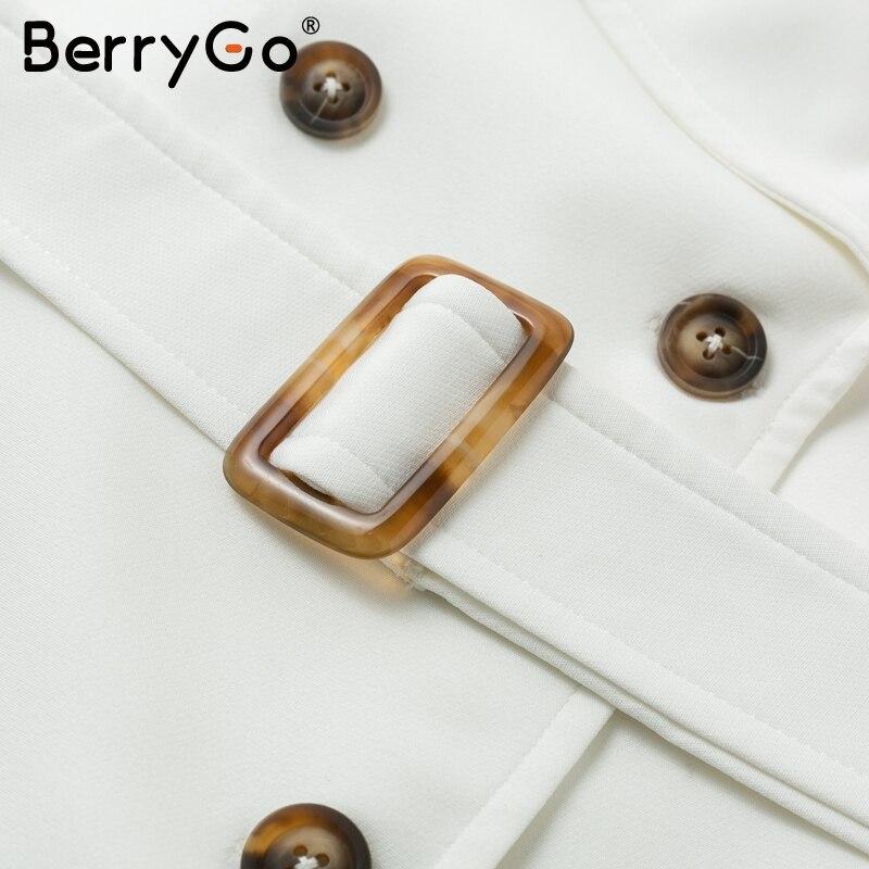 Image 5 - BerryGo White buttons women blazer dress Elegant ruffled sleeve  sash belt office ladies trench dress V neck shawl party  vestidosDresses