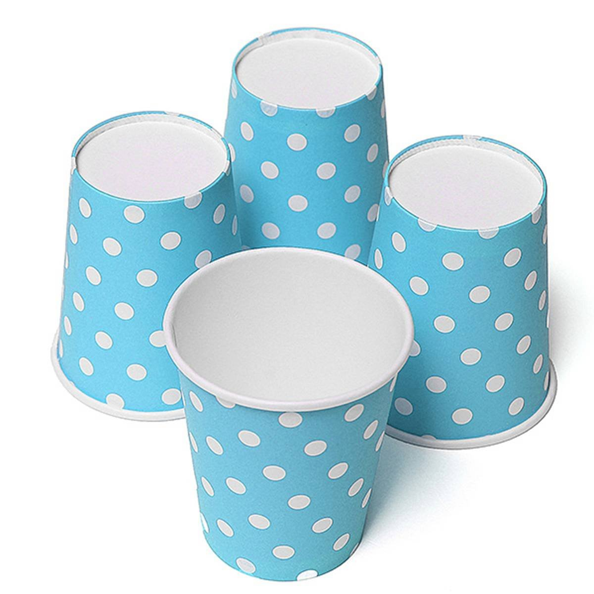 SZS Hot 50pcs Polka Dot Paper Paper Cups Case Disposable Tableware Wedding Birthday Decorations Blue