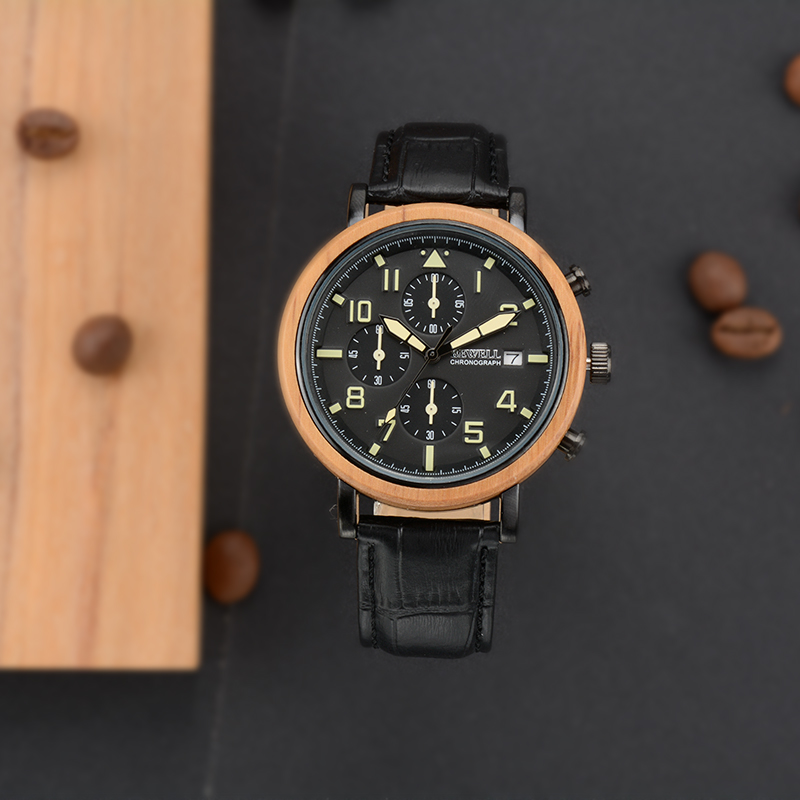 BEWELL New Waterproof Alloy Wood Men Watches With Luminous Hands And Stopwatch Top Luxury Brand Clock With Leather Band 1061A 6