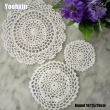 HOT Round Lace cotton table place mat Handmade pad Cloth crochet wedding placemat cup mug tea coffee dish coaster doily kitchen