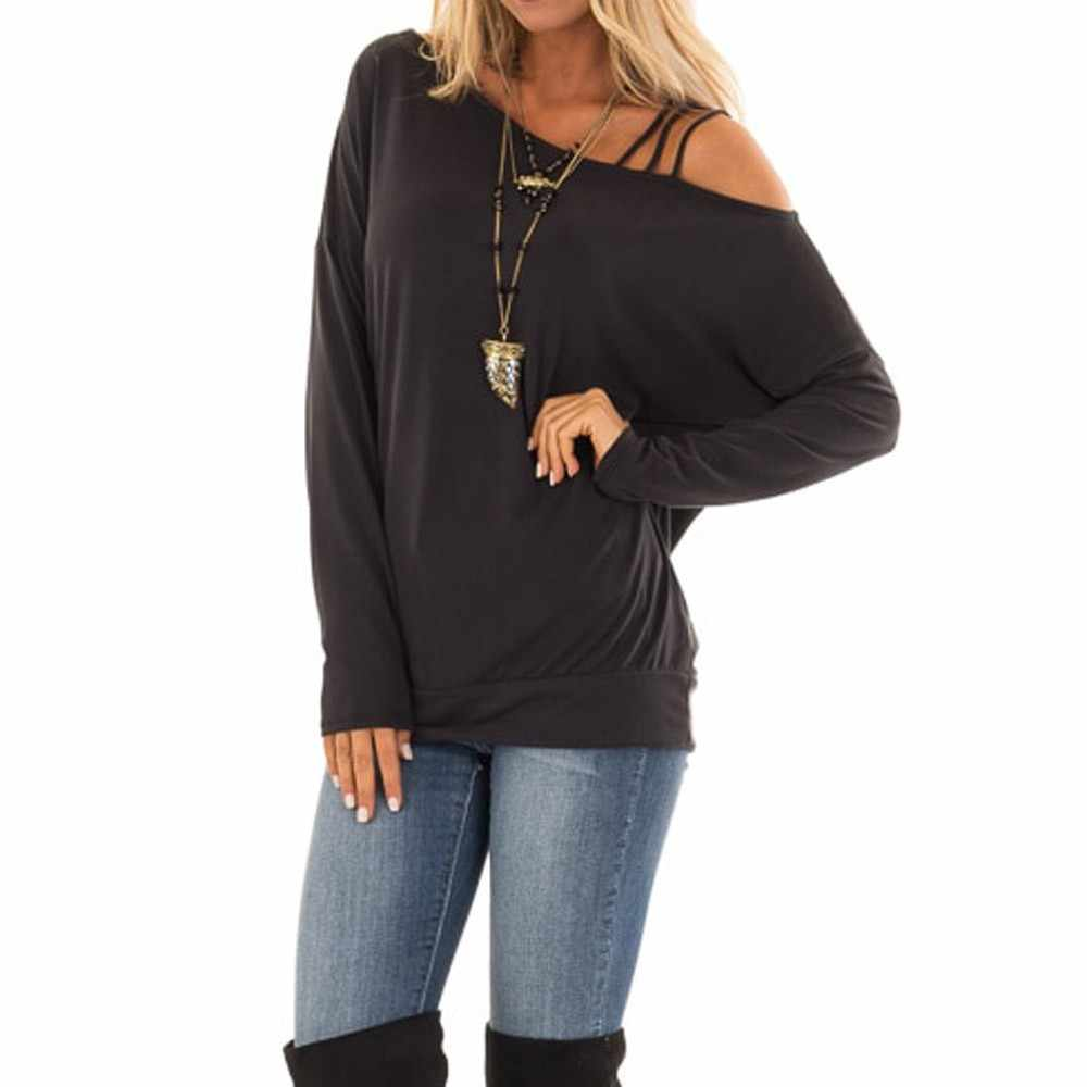 349e974e7b0148 ... Black Friday women t-shirt Solid Casual Long Sleeve Hem One Strappy  Cold Shoulder Tops ...