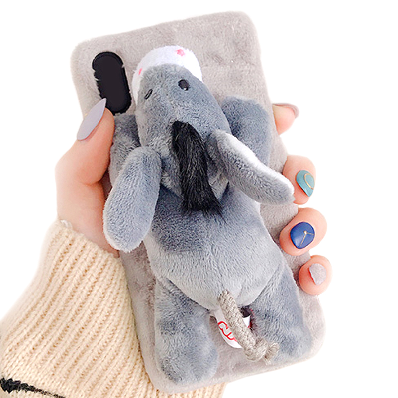 For Phone 7 8 Case Handmade 3D Doll Plush Toy Super Cute Animal Unique Design Rabbit Fur Soft Feel Protective Phone Case Cover in Half wrapped Cases from Cellphones Telecommunications