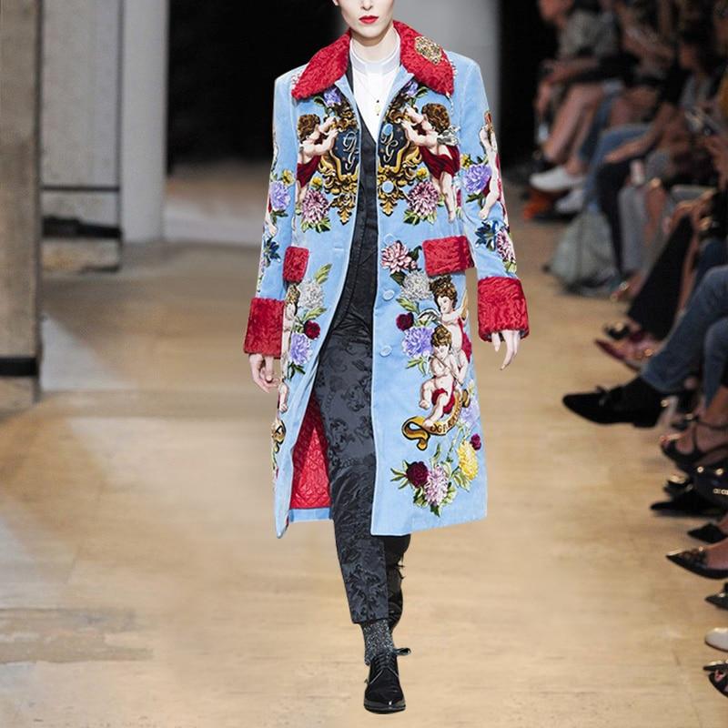 2019 New Runway Desgin Angel Hydrangea Long Trench Coat Women Elegant Belt Overcoat Floral Print Casual Outerwear