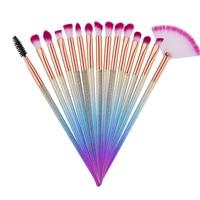 15Pcs Professional Makeup Brush Thread Rainbow Handle Makeup Brushes Cosmetics Blusher Powder Blending Smooth Diamond Brush