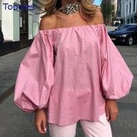 Slash Yaka Seksi Kadınlar Bluzlar Katı High Street Straplez Gömlek Büyük Kollu Moda Yeni Tasarım Bluzlar Blusas Femininas Tops