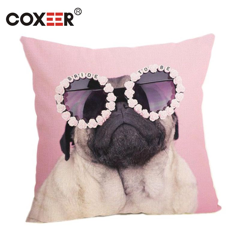 coxeer Cartoon Linen Cotton Pillow Cover Wearing Glasses Cool Pug Printed Pillowcase Square Cushion Cover For Sofa Decor Cojines
