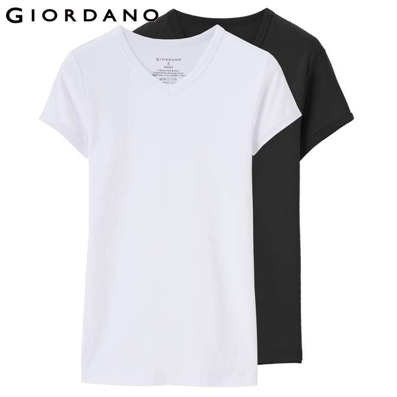 Giordano Men Tshirt Men 2-pack Short Sleeves Tee V-neck   T     Shirt   Men Top Brand Clothing Cotton Tee   Shirt   Homme Solid Color Tshirt